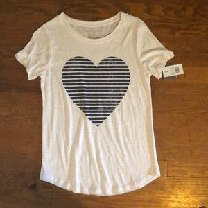 White/Black striped heart T-Shirt